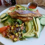 Blackened flounder southwest salad, Yum!
