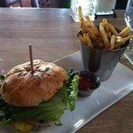 burger with roasted garlic and gorgonzola cheese