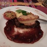 steak topped with a massive slab of pan seared foie gras