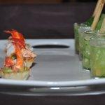 Shrimp ceviche partnered along side a refreshing mojito