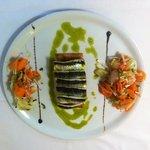 tarte fine de sardines ,légumes croquants