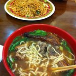 Roasted duck soup ($6) and noodles with chicken, beef and shrimp ($7.5).