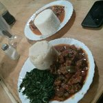 meat stew, greens and ugali - 600 KES