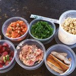 spicy tuna poke, spicy crab (our favorite!), limu tuna, seaweed salad, brown rice