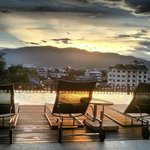 After view from pool on level 4 - Sunset over Doi Suthep
