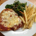 Chicken Parma with Chips and Salad