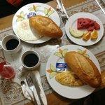 Breakfast: eggs & baguettes