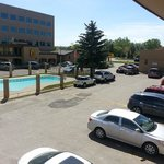 View of parking lot and pool