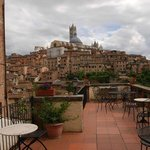 The incredible view from the terrace looking towards the Duomo Siena