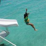 Enjoying the slide on the boat