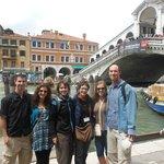 Maria with my family at the Rialto Bridge