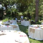Wedding venue set up with dining tables