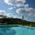 View of San Gimignano, at the poolside
