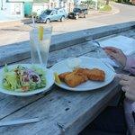 Fish 'n' chips (fish great, salad so-so)