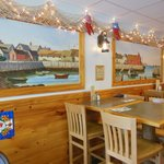 Ellen's Harboside has a nautical decor with bright shiny wood surfaces