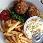 Crab Cakes dinner with fries and coleslaw