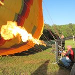 Burners and fans inflating the balloon