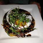 appetizer special: blueberry and thyme pancake with duck egg and pea shoots - Amazing!