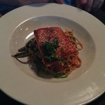 salmon with linguine