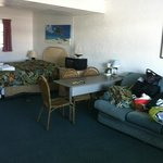 dingy couch, out dated furniture, and dark rug