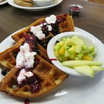 Delicious freshly made Waffles- definitely NOT from a package mix. Try the raspberry coulis!