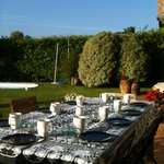 Desayuno en el jardin un dia soleado