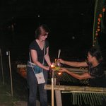 Am putting Krathong in water