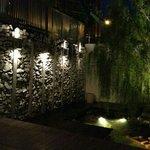 Backyard with fountain