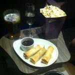 Beer, champagne, popcorn and spring rolls!!