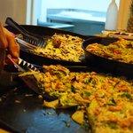 patate zucchine gamberetti olio di menta e una leggera mousse da mettere a crudo fatta al moment
