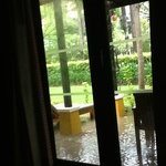 family suit- flooded garden and porch outside rooms 413 and 414