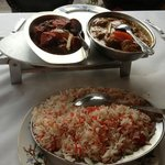 Lamb Khorsani, Chicken Chandane Dry Fry and Rice