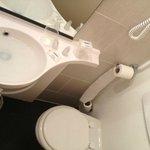 Essayez de vous encastrer sous le lavabo pour vous asseoir sur les toilettes!!! jolie gymnastiqu