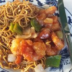 Shrimp with nudles and sweet and sour