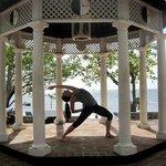 Yoga practice in the beach gazebo