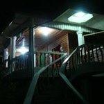 balcony of the beach house at night