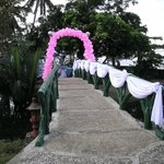 bridge decorated for a wedding ceremony
