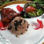 Lunch- BBQ chicken, rice and beans, and salad