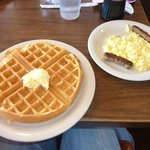 Waffles, eggs, and sausage