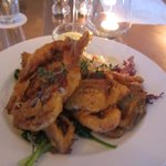Soft shell crabs over sauteed greens