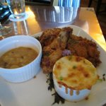 Buttermilk organic fried chicken with baked beans and oven baked macaroni & cheese