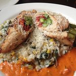 Roulade.... Chicken, sundried tomatoes, asparagus, over toasted corn risotto! Yummmmm!!!!