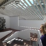 The interior of the Sculpture Gallery, with works by Frank Stella, Robert Rauschenberg, et. al.