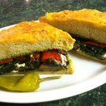 Grilled Portabella Mushroom Sandwich on Focaccia