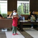 Daughter enjoying with my friends at the lobby.