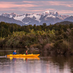 Okarito Lagoon with Mount Cook in background