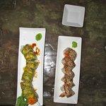 Caterpillar and papaya/unagi rolls