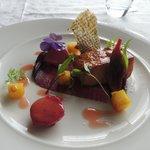 Tea smoked salmon with juniper & citrus fruits, roast beetroot puree,