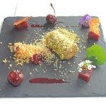 Ballontine of foie-gras, quatre d'epiece, poached cherries,