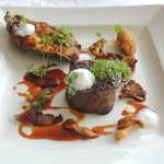 Grilled fillet, ox-tail braised in Guinness, oyster beignet,